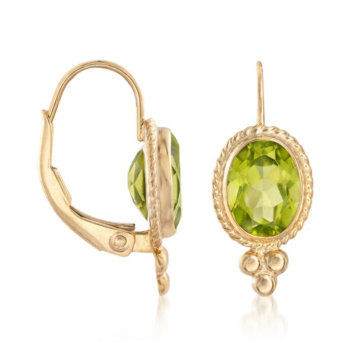 2.70 ct. t.w. Peridot Rope Edge Earrings in 14kt Yellow Gold