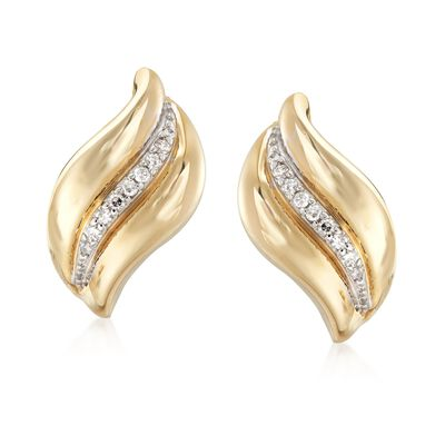 .12 ct. t.w. Diamond Wave Earrings in 14kt Yellow Gold, , default