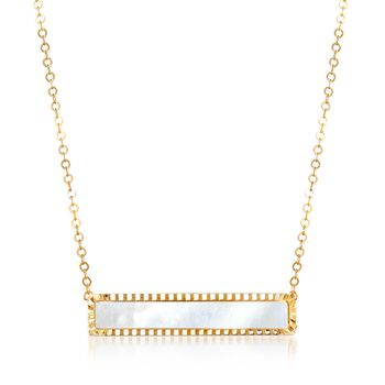 """Italian Mother-Of-Pearl Bar Necklace in 14kt Yellow Gold. 18"""", , default"""