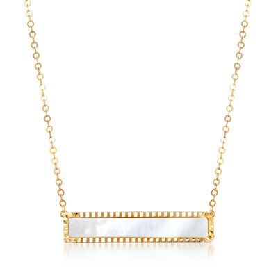 Italian Mother-Of-Pearl Bar Necklace in 14kt Yellow Gold, , default
