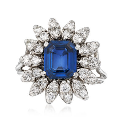 C. 1970 Vintage 2.12 Carat Sapphire and .70 ct. t.w. Diamond Ring in 14kt White Gold, , default