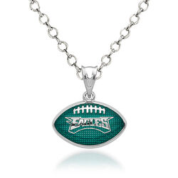 "Sterling Silver Philadelphia Eagles Enameled Football Pendant Necklace. 18"", , default"