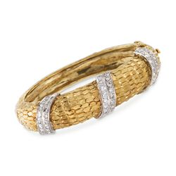 "C. 1970 Vintage 1.65 ct. t.w. Diamond Bangle Bracelet in 18kt Yellow Gold. 6.5"", , default"