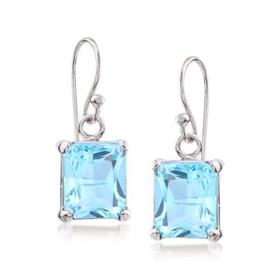 6.50 ct. t.w. Emerald-Cut Blue Topaz Drop Earrings in Sterling Silver, , default