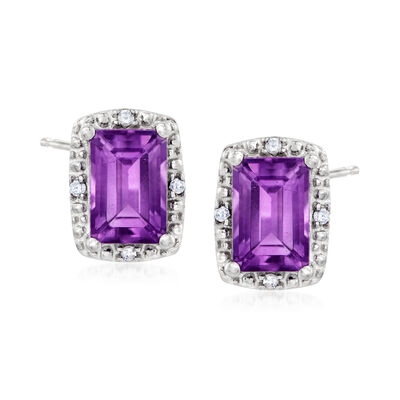 1.10 ct. t.w. Amethyst Stud Earrings with Diamond Accents in Sterling Silver