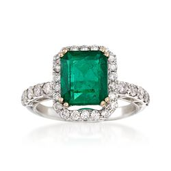 2.88 Carat Emerald and 2.22 ct. t.w. Diamond Ring in 18kt White Gold, , default