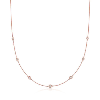 .33 ct. t.w. Graduated Bezel-Set Diamond Station Necklace in 14kt Rose Gold