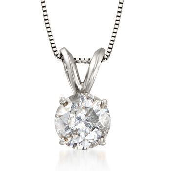 """1.25 Carat Diamond Solitaire Necklace in 14kt White Gold. 18"""", , default"""
