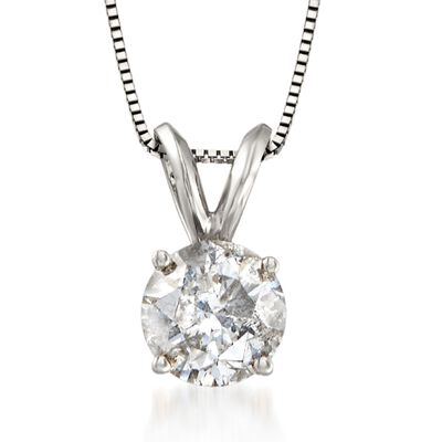 1.25 Carat Diamond Solitaire Necklace in 14kt White Gold, , default