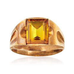 C. 1960 Vintage Men's 3.40 Carat Synthetic Yellow Sapphire Ring in 10kt Gold. Size 9.5, , default