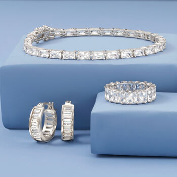 6.00 ct. t.w. Baguette CZ Eternity Band in Sterling Silver, , default