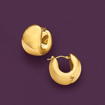 """Italian Andiamo 14kt Yellow Gold Wide Huggie Hoop Earrings. 3/4"""""""