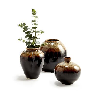Set of 3 Earth-Tone Patina Vases