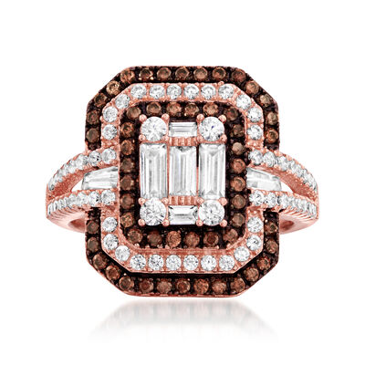 1.55 ct. t.w. White and Brown CZ Ring in 18kt Rose Gold Over Sterling