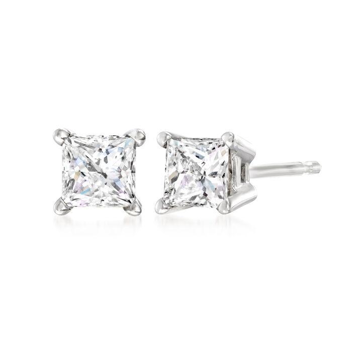 .50 ct. t.w. Princess-Cut Diamond Stud Earrings in 14kt White Gold