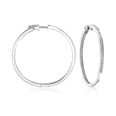 .25 ct. t.w. Diamond Inside-Outside Hoop Earrings in Sterling Silver, , default