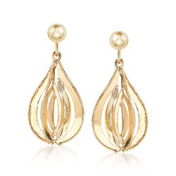 Italian 14kt Yellow Gold Dimensional Teardrop Earrings , , default