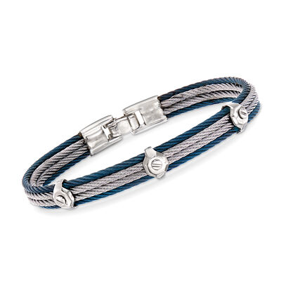 ALOR Men's Gray and Blue Stainless Steel Cable Station Bracelet, , default