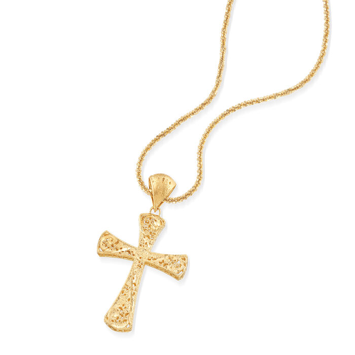Italian 18kt Gold Over Sterling Silver Filigree Cross Pendant