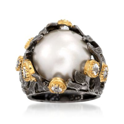 16mm Cultured Mabe Pearl Ring with 1.50 ct. t.w. White Topaz in 18kt Two-Tone Sterling Silver, , default