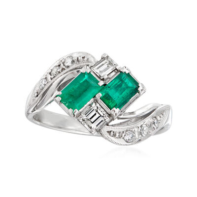 C. 1980 Vintage .50 ct. t.w. Emerald and .30 ct. t.w. Diamond Ring in Platinum