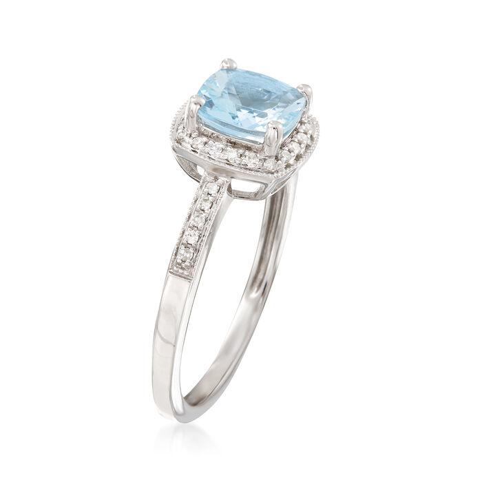 1.20 Carat Aquamarine and .15 ct. t.w. Diamond Ring in 14kt White Gold