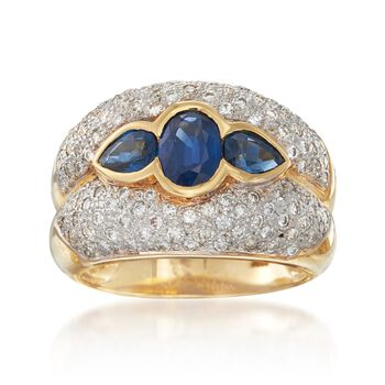 C. 1980 Vintage 1.70 ct. t.w. Sapphire and 1.00 ct. t.w. Diamond Ring in 18kt Yellow Gold. Size 7, , default