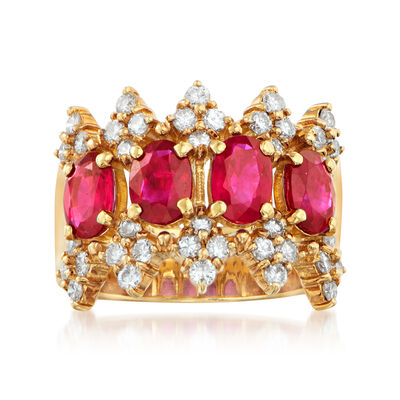 C. 1990 Vintage 2.27 ct. t.w. Ruby and .78 ct. t.w. Diamond Band in 18kt Yellow Gold, , default