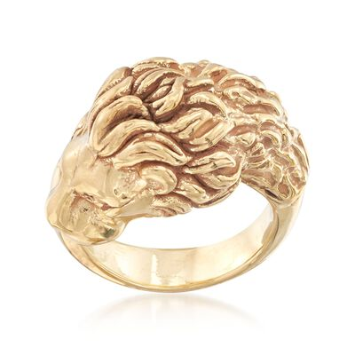 Italian 18kt Yellow Gold Lion Head Ring, , default