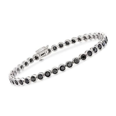 5.00 ct. t.w. Bezel-Set Black Diamond Tennis Bracelet in Sterling Silver, , default
