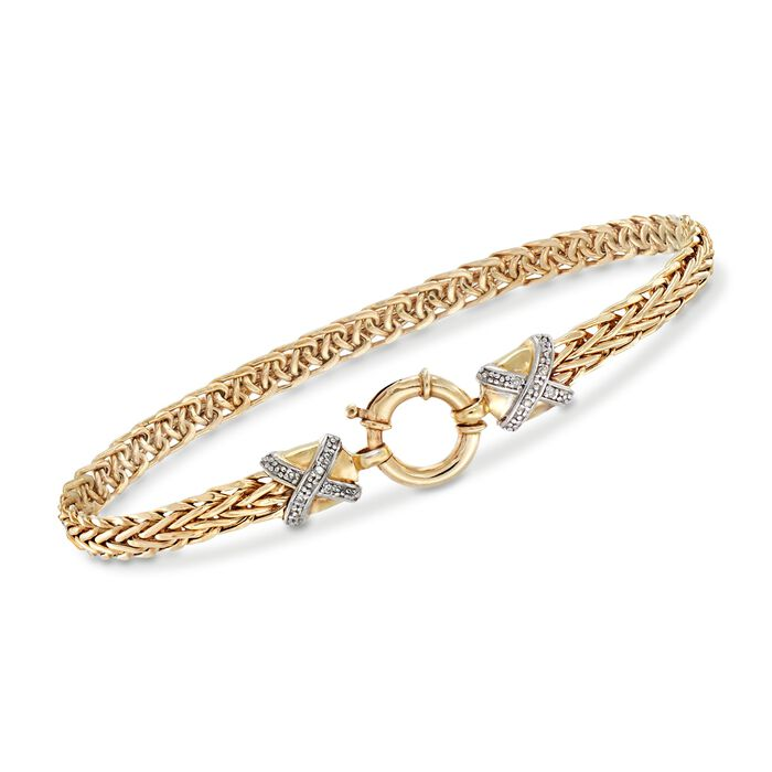 14kt Yellow Gold Wheat-Link Bracelet with Diamond X Motifs
