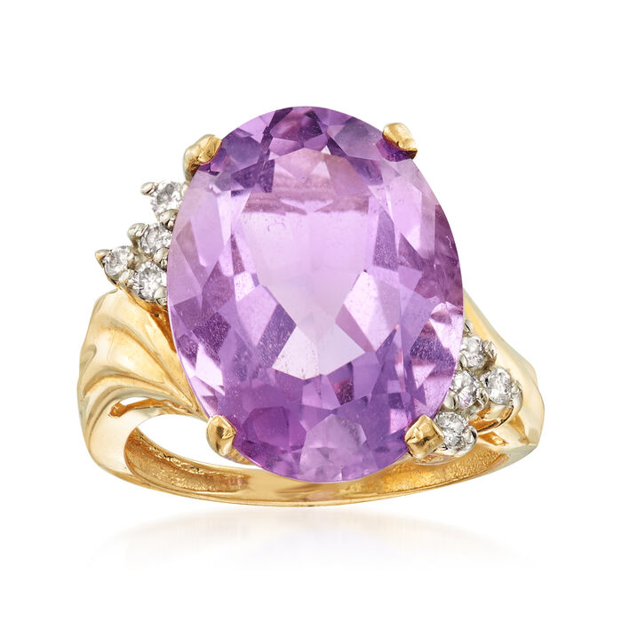 C. 1990 Vintage 10.00 Carat Amethyst and .20 ct. t.w. Diamond Ring in 10kt Yellow Gold. Size 7, , default