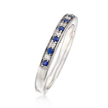 C. 1980 Vintage .15 ct. t.w. Sapphire and .10 ct. t.w. Diamond Ring in 14kt White Gold. Size 7, , default