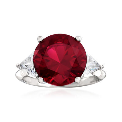 6.30 Carat Simulated Ruby and 1.50 CZ Ring in Sterling Silver