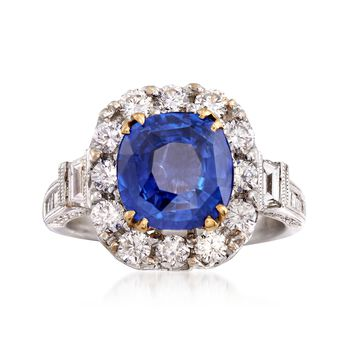 C. 2000 Vintage 2.96 Carat Sapphire and 1.50 ct. t.w. Diamond Ring in 18kt White Gold. Size 6.5, , default