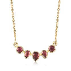 3.20 ct. t.w. Garnet Necklace in 18kt Yellow Gold Over Sterling Silver, , default