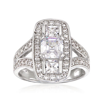 3.20 ct. t.w. CZ Vintage-Style Ring in Sterling Silver