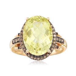 5.50 Carat Lemon Quartz and .21 ct. t.w. Brown Diamond Ring in 14kt Yellow Gold, , default