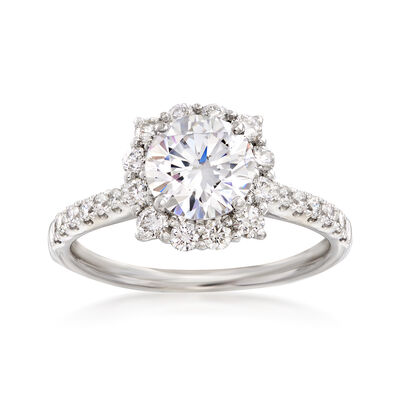.59 ct. t.w. Diamond Halo Engagement Ring Setting in 14kt White Gold