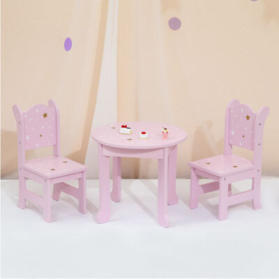 """Child's """"Twinkle Stars Princess"""" Doll Table and 2 Chair Set"""