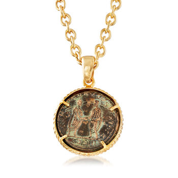 """Italian Bronze Coin Pendant Necklace in 18kt Gold Over Sterling Silver. 18"""", , default"""