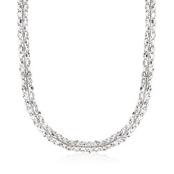 Italian Sterling Silver Mirror-Link Collar Necklace, , default
