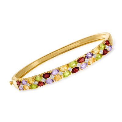 6.20 ct. t.w. Multi-Gemstone Bangle Bracelet in 18kt Gold Over Sterling, , default