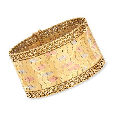 C. 1960 Vintage 18kt Tri-Colored Gold Wide Bracelet, , default