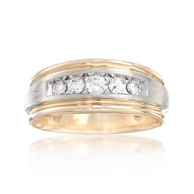 Men's .50 ct. t.w. Diamond Wedding Ring in 14kt Two-Tone Gold, , default