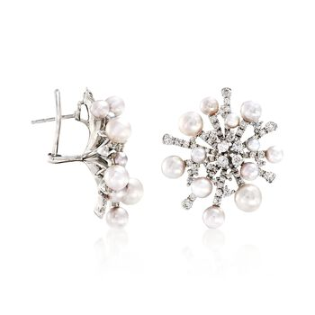 """Mikimoto """"Splash"""" 3-6.5mm A+ Akoya Pearl and 2.44 ct. t.w. Diamond Earrings in 18kt White Gold , , default"""