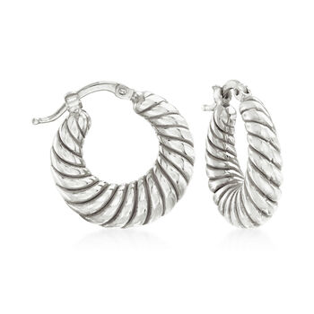 "Italian Sterling Silver Jewelry Set: Three Pairs of Hoop Earrings. 5/8""-3/4"", , default"