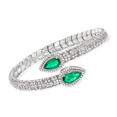 5.00 ct. t.w. Diamond and 2.90 ct. t.w. Emerald Bypass Bangle Bracelet in 18kt White Gold