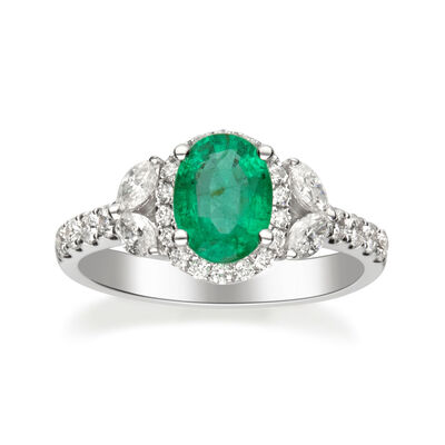 1.00 Carat Emerald and .70 ct. t.w. Diamond Ring in 14kt White Gold