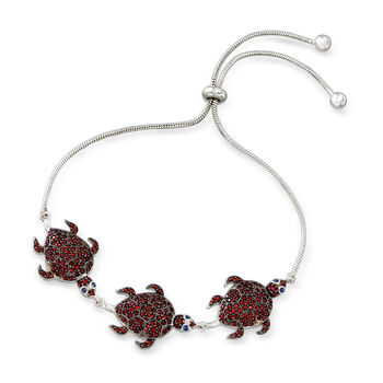 1.40 ct. t.w. Garnet Turtle Bolo Bracelet with Sapphire Accents in Sterling Silver